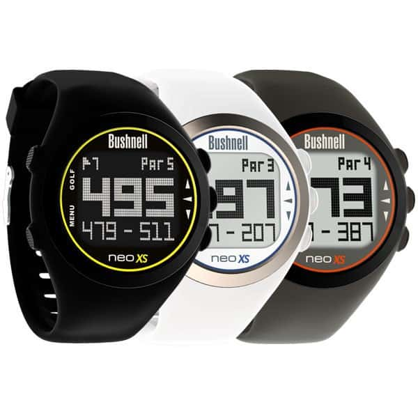 Image of three Bushnell NEO XS Golf GPS Watches. Black, white, and grey.