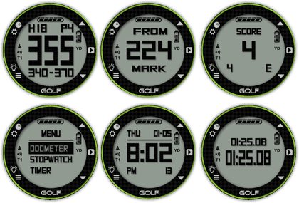 Image of six skycaddie golf gps watch faces. The image shows yardage, time, odometer, scorecard.