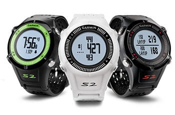 Image of three different colors of the Garmin S2 golf GPS watch. This is one of the best golf GPS watch of 2017 because it is the most popular golf GPS watch.