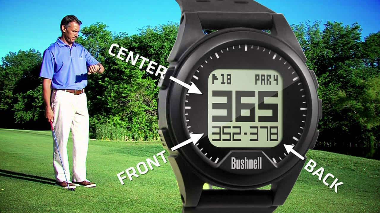 Image of a man checking the time on his wrist using the Bushnell Neo-ion golf GPS watch