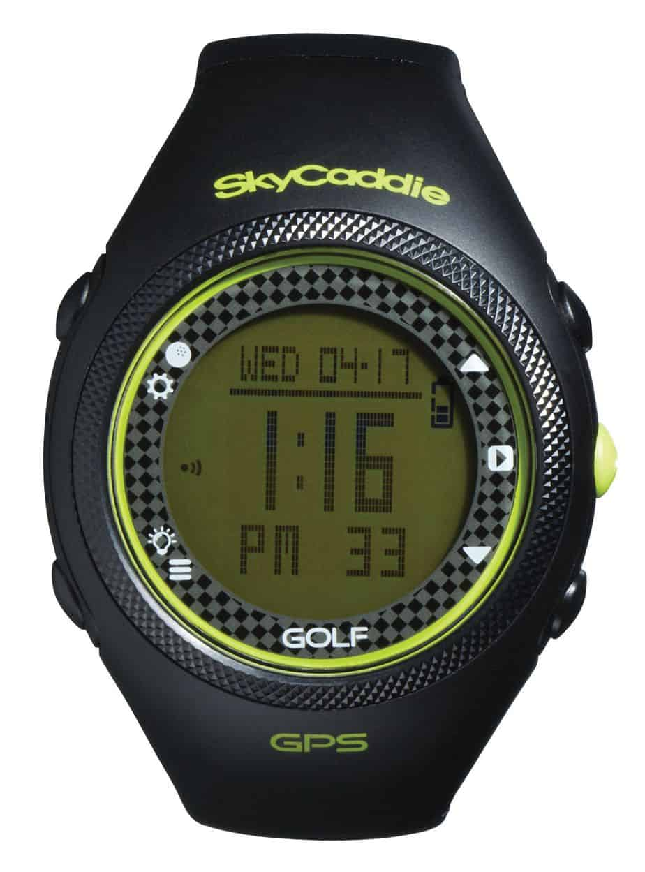 Image of a black and yellow skycaddie golf GPS watch. This is not one of the best golf gps watches of 2017.