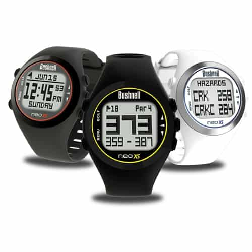 This is an image of three Bushnell NEO XS golf GPS watches, one of the best golf GPS watches of 2017.