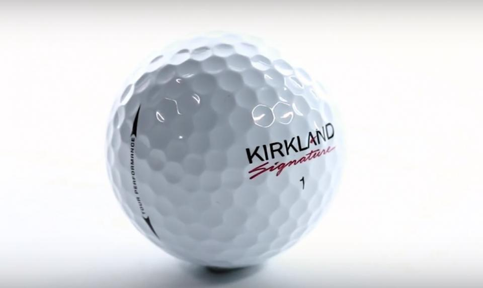 Image of a brand new Kirkland Signature Golf Ball with a white background. The urethane cover makes it one of the best golf balls.