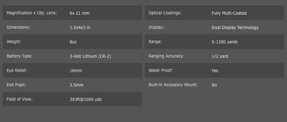 Specs, Bushnell Pro 2X