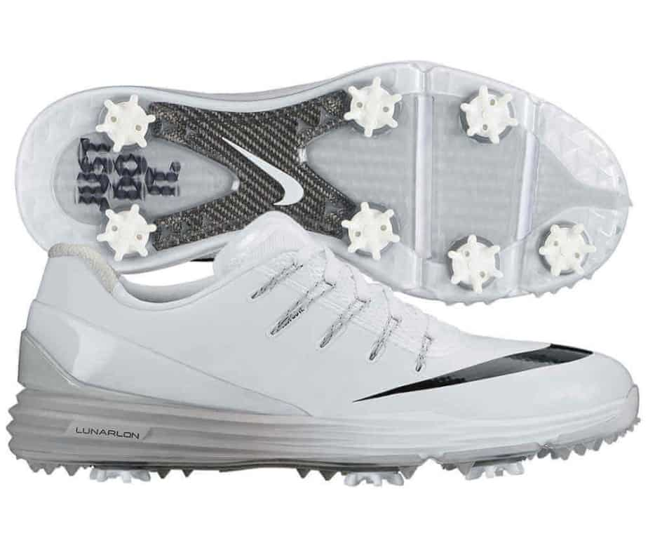 Image of white Nike Lunar Control 4 golf shoes. Shows side of shoe and bottom of shoe.
