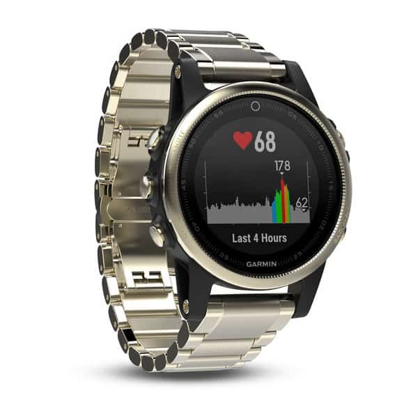 Image of Garmin Fenix 5 golf gps watch. Golf watch with metal band.