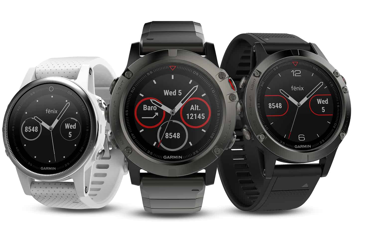 Image of the Garmin Fenix 5 golf watch. Golf watch with clear screen.