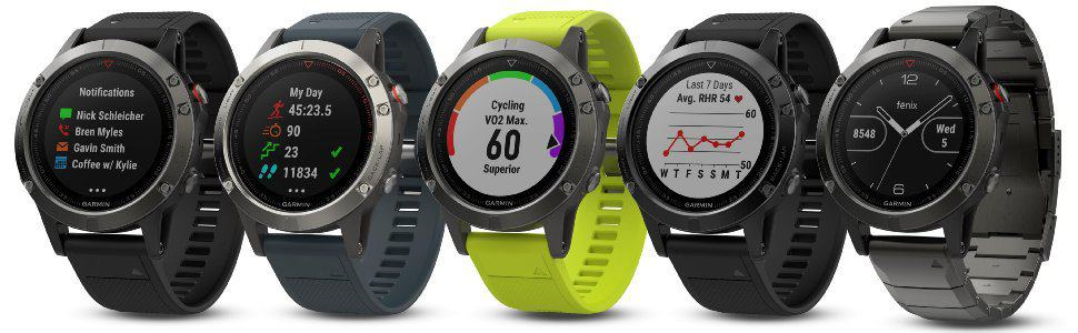 Image of multiple garmin fenix 5 golf watches. best golf watch for multisport functionality.